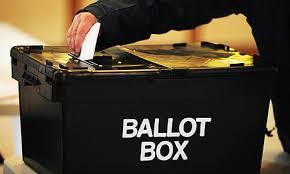ballot box with someone casting vote